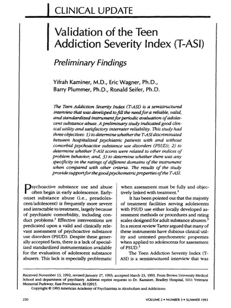 Validation of the Teen Addiction severity Index (T-ASI)