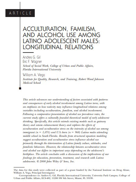 Acculturation, familism, and alcohol use among Latino adolescent males: Longitudinal relations