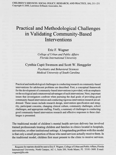 Practical and Methodological Challenges in Validating Community-Based Interventions