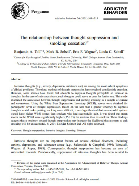 The Relationship between Thought Suppression and Smoking Cessation
