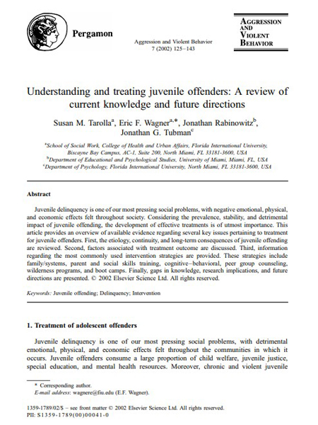 Understanding and treating juvenile offenders: A review of current knowledge and future directions