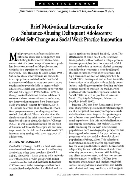 Brief Motivational Intervention for Substance-Abusing Delinquent Adolescents: Guided Self-Change as a Social Work Practice Innovation