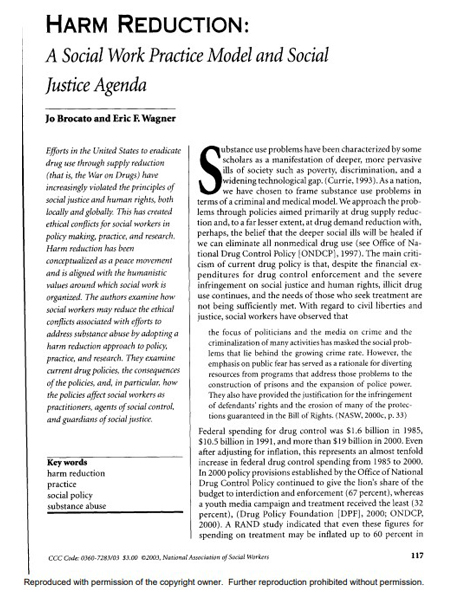 Harm reduction: A social work practice model and social justice agenda