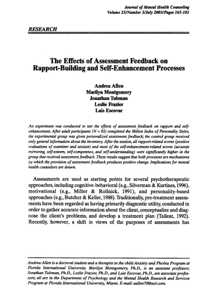 The Effects of Assessment Feedback on Rapport-Building and Self-Enhancement Processes