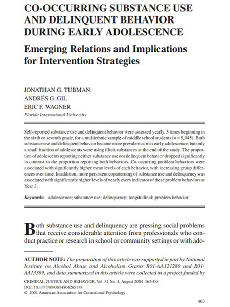 Co-Occurring Substance Use and Delinquent Behavior during Early Adolescence: Emerging Relations and Implications for Intervention Strategies