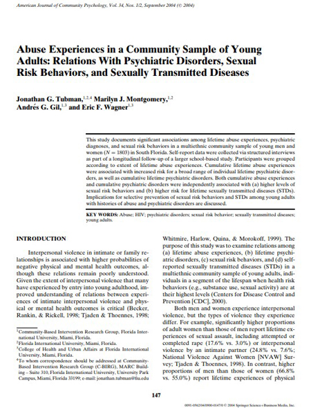 Abuse Experiences in a Community Sample of Young Adults: Relations with Psychiatric Disorders, Sexual Risk Behaviors, and Sexually Transmitted Diseases