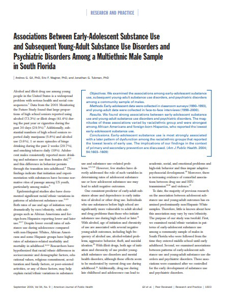 Associations Between Early-Adolescent Substance Use and Subsequent Young-Adult Substance Use Disorders Among a MultiEthnic Male Sample in South Florida