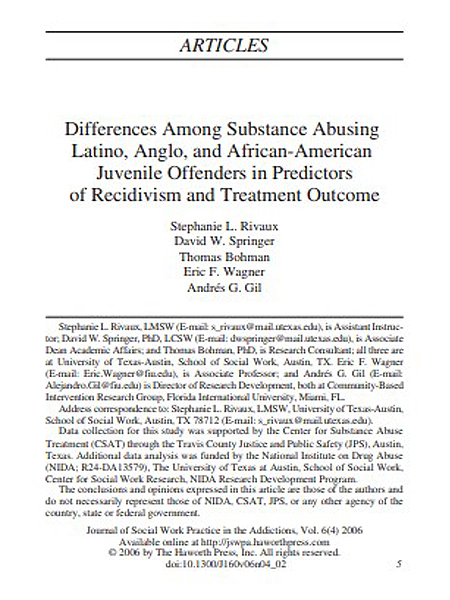 Differences Among Substance Abusing Latino, Anglo, and African-American Juvenile Offenders in Predictors of Recidivism and Treatment Outcome