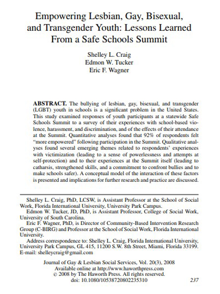 Empowering Lesbian, Gay, Bisexual, and Transgender Youth: Lessons Learned From a Safe Schools Summit