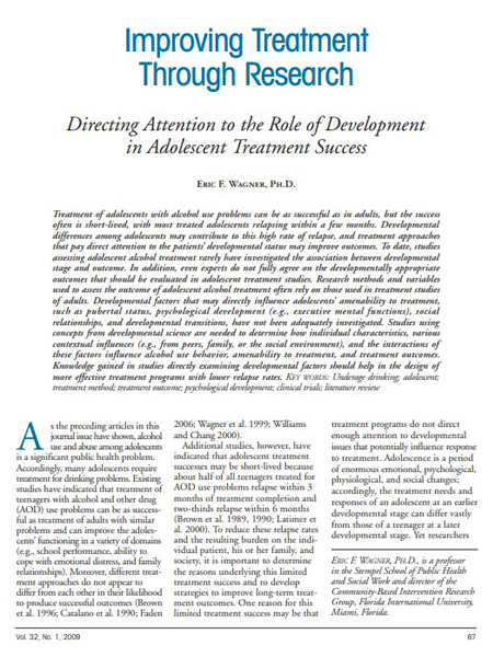 Improving Treatment Through Research: Directing Attention to the Role of Development in Adolescent Treatment Success