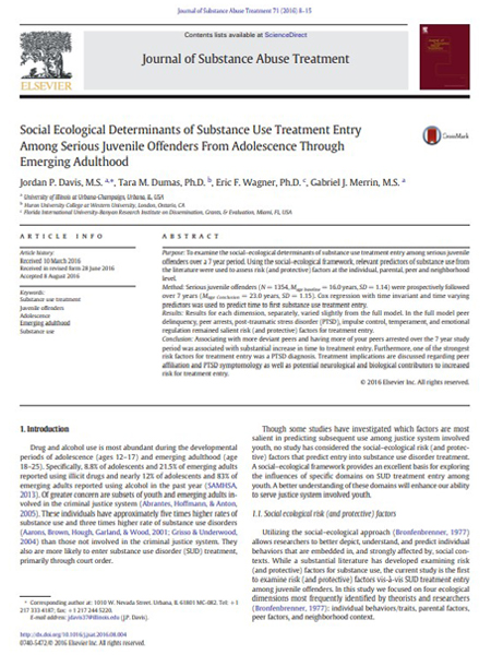 Social Ecological Determinants of Substance Use Treatment Entry Among Serious Juvenile Offenders From Adolescence Through Emerging Adulthood