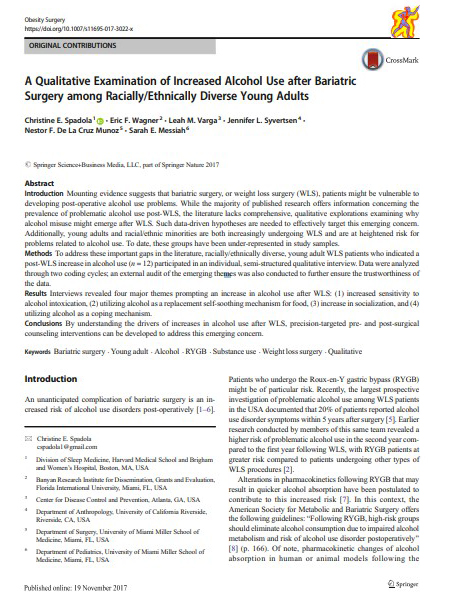 A Qualitative Examination of Increased Alcohol Use after Bariatric Surgery among Racially/Ethnically Diverse Young Adults