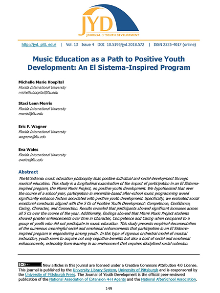 Music Education as a Path to Positive Youth Development: An El Sistema-Inspired Program