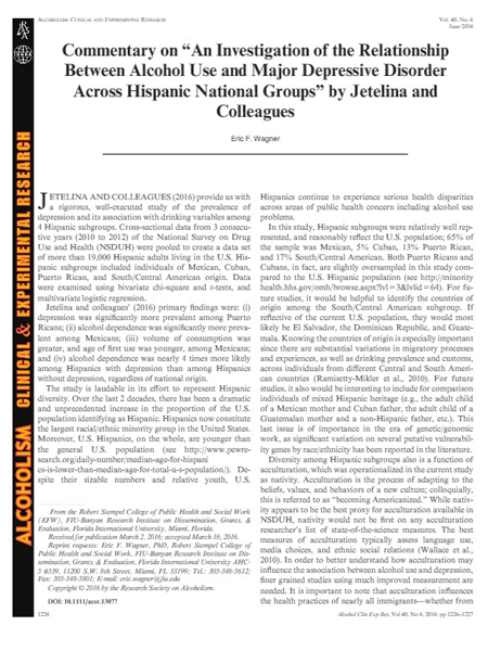 """Commentary on """"An Investigation of the Relationship Between Alcohol Use and Major Depressive Disorder Across Hispanic National Groups"""" by Jetelina and Colleagues"""