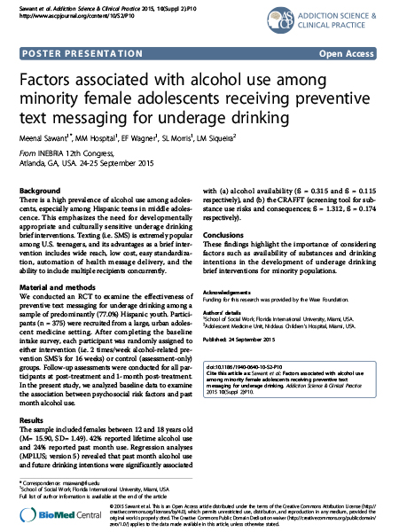 - Factors associated with alcohol us among minority female adolescents receiving preventive text messaging for underage drinking