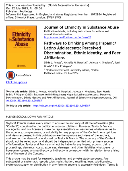 Pathways to Drinking Among Hispanic/Latino Adolescents: Perceived Discrimination, Ethnic Identity, and Peer Affiliations