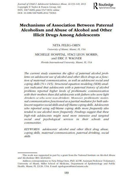 Mechanisms of Association Between Paternal Alcoholism and Abuse of Alcohol and Other Illicit Drugs Among Adolescents